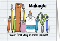 Customizable First Day in First Grade School Supply Characters card