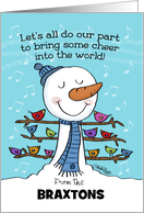 Customizable Name Braxtons Happy New Year-Snowman with Birds card