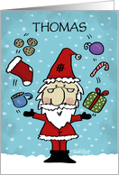 Customizable Name Merry Christmas for Thomas-Juggling Santa Claus card
