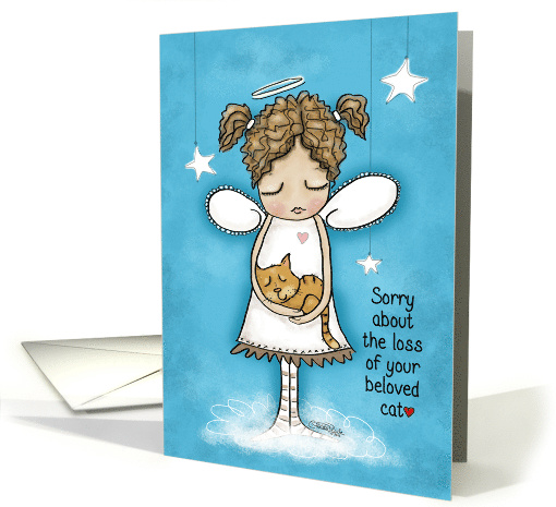 Sorry about the Loss of Your Pet Cat Angel Holds Kitty card (1464140)
