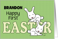Customizable Name Happy 1st Easter for Brandon-Two Bunnies card