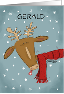 Customized Merry Christmas for Gerald-Deer Catches Snowflakes card