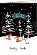 Customized Merry Christmas Timothy & Rhonda-Nighttime Woodland Forest card