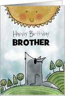 Customizable Happy Birthday for Brother-Wolf Howling at the Sun card