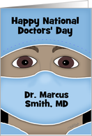 Personalized Happy National Doctors' Day Male Dark Skin Doctor Attire card