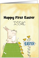 Customizable Happy First Easter for Issac -Bunny Sees Easter Ahead card