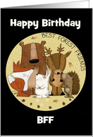 Customizable Happy Birthday to my BFF-Woodland Animal Crew card