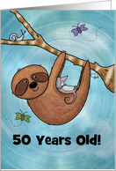 Humorous Customizable Happy 50th Birthday-Sloth Hammock card