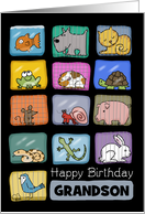Customizable Happy Birthday for Grandson-Animal Lover card