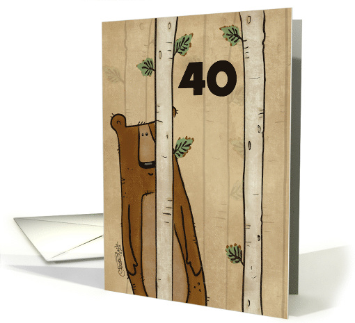 Customizable Age Happy 40th Birthday Bear Hides Behind Tree card