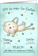 Customizable Easter Invitation Bunny Hop Rabbit Daisies and Bees card