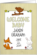 Customizable Name Welcome Baby, Congratulations, Deer, Bunny and Fox card