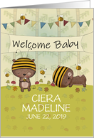 Customizable Name Welcome Baby, Congratulations, Bears and Bees card