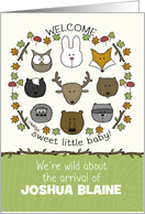 Customizable Name Welcome Baby, Congratulations, Forest Animals card
