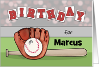 Customizable Name Happy Birthday for Marcus Baseball Glove and Bat card