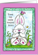 Bunny Hiding Eggs in his mouth-Easter Egg Hunt Invitation card
