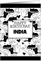 Happy Birthday India Black and White Kitty Galore Pattern card