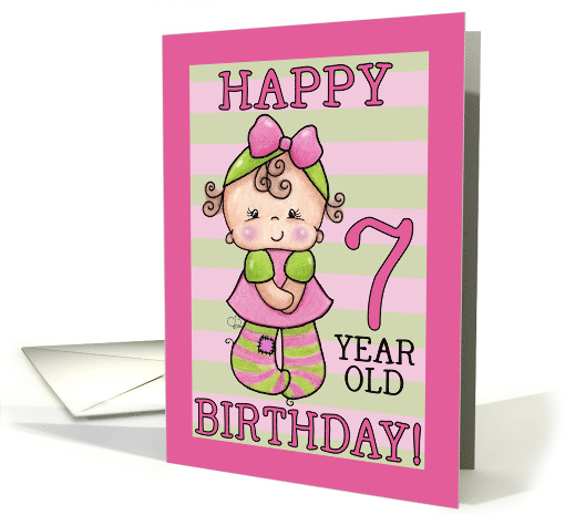 Pink and Green Striped Tights 7th Birthday for Little Girl card