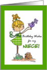 Little Girl with Bird-Birthday Niece card