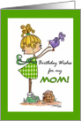 Little Girl with Bird-Birthday Mom card