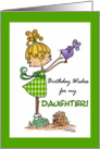 Little Girl with Bird-Birthday daughter card