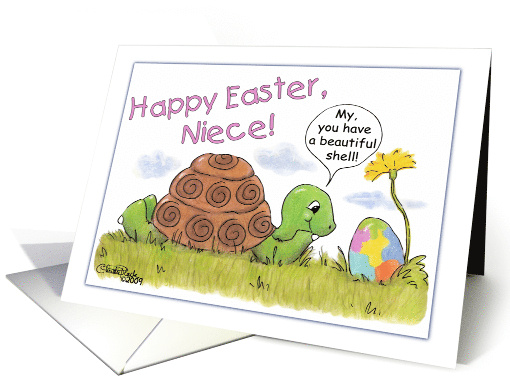 Happy Easter for Niece-Turtle Admires Easter Egg card (379656)