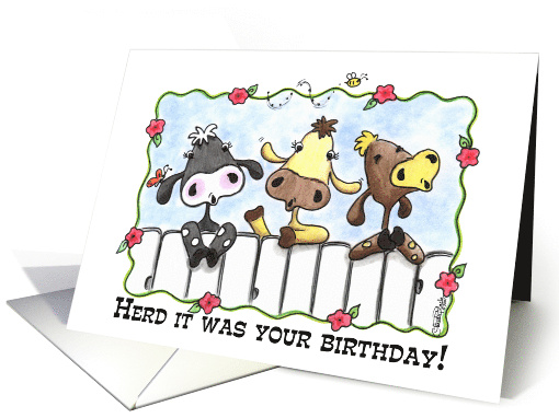 Happy Birthday Three Cows Mooing Card