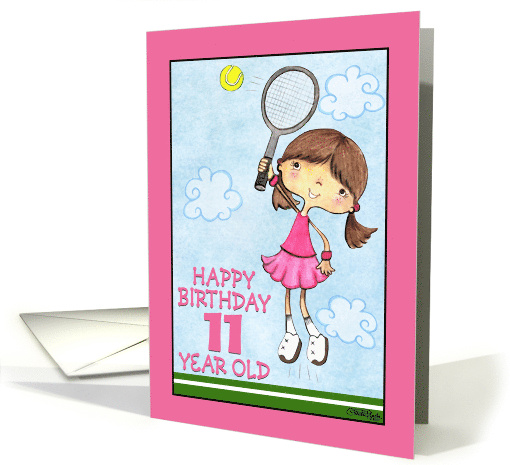Tennis Player- 11th Birthday for for Girl card (55503)