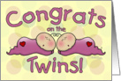 Congratulations on the Twin Girls- Sleeping Babies card