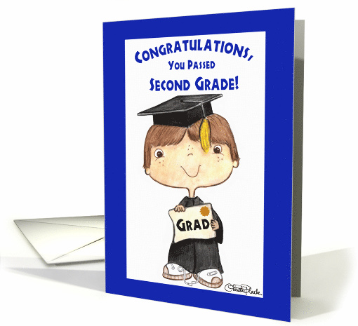 Awesome Congratulations On Graduating 2Nd Grade Little Boy In Cap Funny Birthday Cards Online Aboleapandamsfinfo