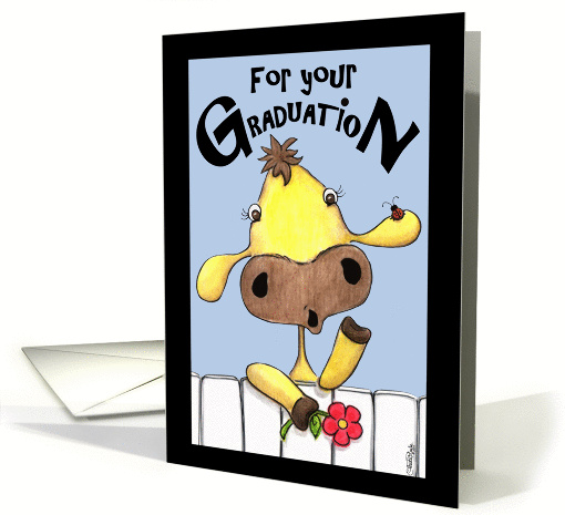 Cow Over Fence- Graduation-Money card (58019)