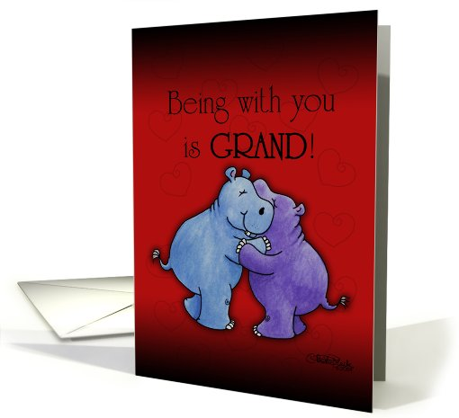 Happy Anniversary- Hugging Hippos card (600247)