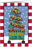 Hot Dog Cart-Christmas Wishes card