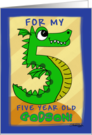 Happy Birthday for 5 year old Godson- Number Five Shaped Dragon card