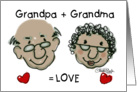 Happy Anniversary for Grandparents from Child- Equals Love -Dark Skinned card
