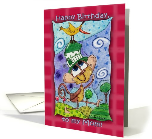 Happy Birthday for Mom- Funky Monkey and Banana Bird card (754653)