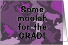 Money Card for Graduation-Purple Cow Camouflage Pattern card