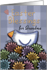 Easter Blessings for Grandma- Primitive Chicken and Smiling Daisies card