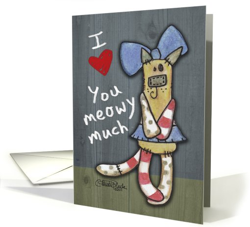 Thank You to Veterinarian-Primitive Kitty-Love You Meowy Much card