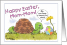 Happy Easter for Mom-Mom- Turtle admires Easter Egg card