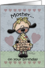 Happy Birthday for Mother-Primitive Lamb-God Bless Ewe card