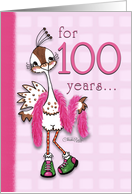 Happy Birthday 100 Year Old Woman -Fancy Peahen card