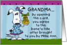 Happy Birthday for Grandma-Millie Ann Bone'a Fide Offer card