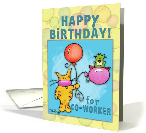 Happy Birthday for Co-Worker-Cat and Bird with Balloons card (797719)