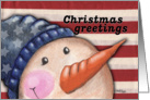 Christmas Greetings-Americana Snowman card