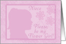 Please be my Flower Girl for niece-Pink Girl Silhouette card