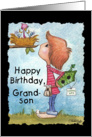 Happy Birthday to Grandson-Little Boy with Birdhouse card