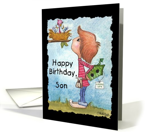 Happy Birthday to Son-Little Boy with Birdhouse card (813043)