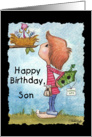 Happy Birthday to Son-Little Boy with Birdhouse card