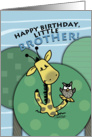 Birthday for Little Brother- Giraffe and Owl Shout from the Treetops card